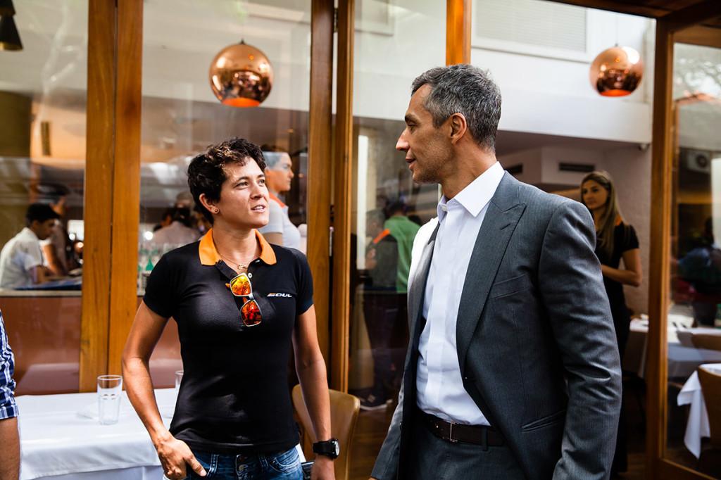 A pentacampeã brasileira e líder do ranking brasileiro Erika Gramiscelli e o empresário João Paulo Diniz